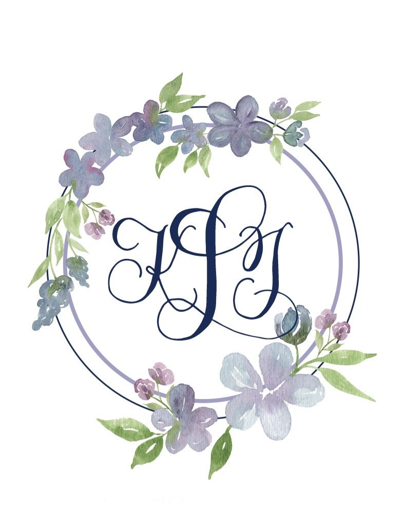 Navy and purple wedding monogram in calligraphy with florals - Leah E. Moss Designs