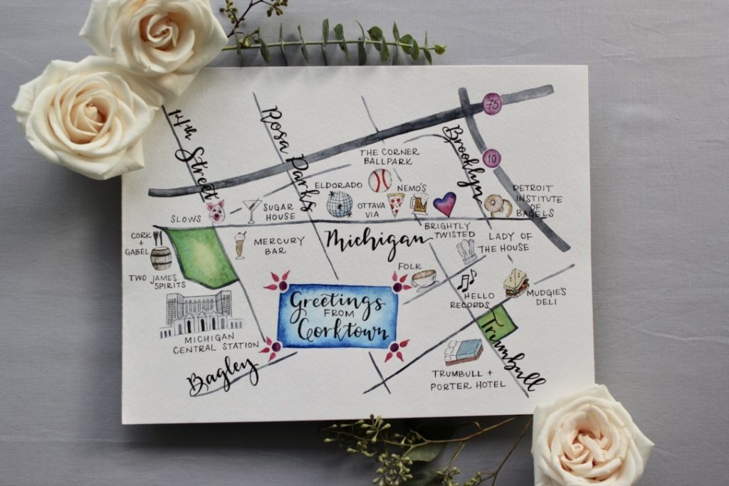 Watercolor illustrated map of Corktown in Detroit, Michigan - Leah E. Moss Designs