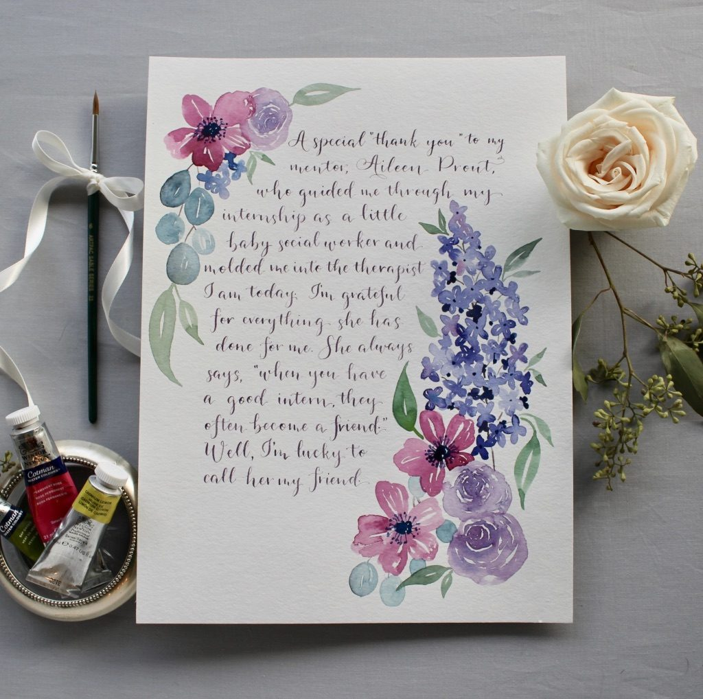 Watercolor floral and purple modern calligraphy for gift - Leah E. Moss Designs