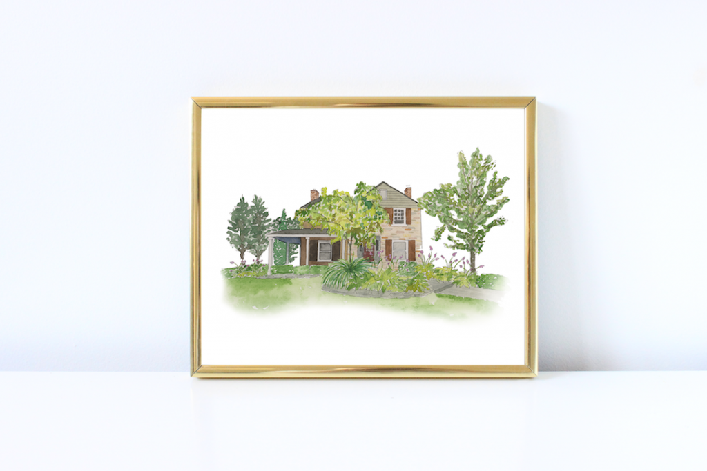 Brick house watercolor illustration - Leah E. Moss Designs