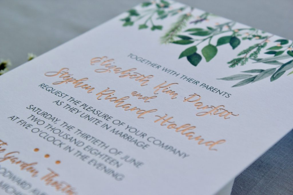 copper foil stamping on wedding invitation