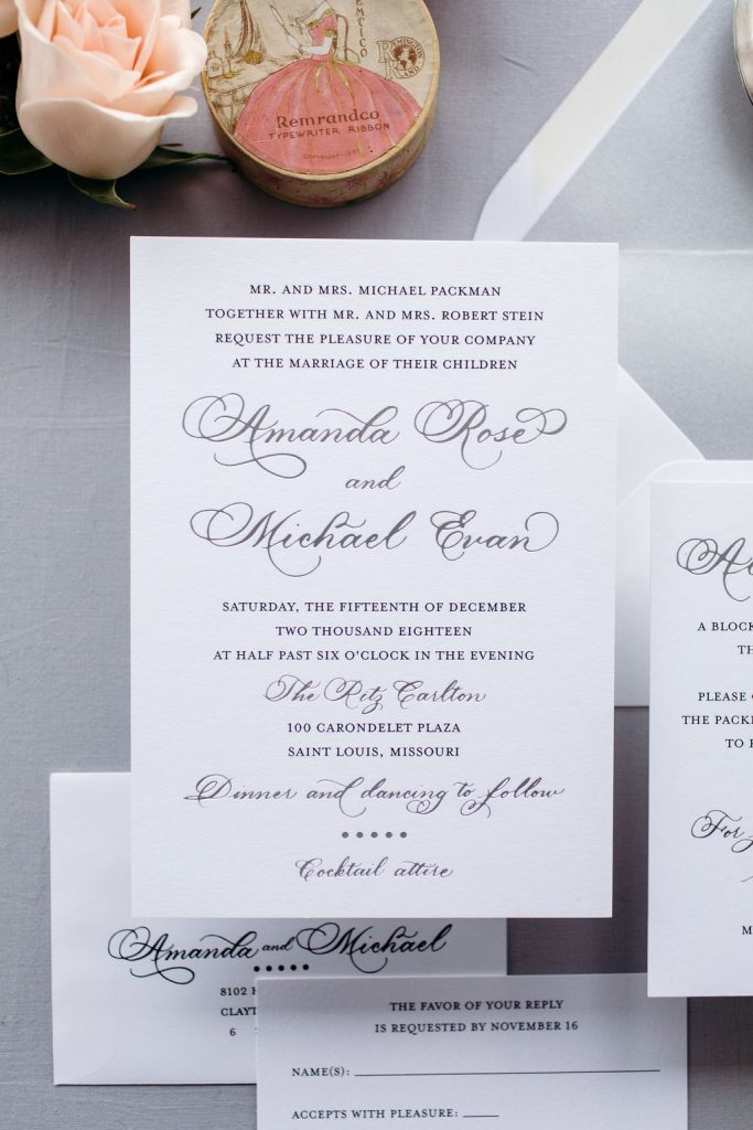 Silver foil stamped wedding invitation - Leah E. Moss Desings
