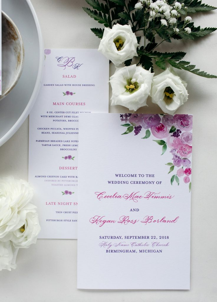 Purple and pink floral wedding ceremony program and menu with rose gold foil stamping - Leah E. Moss Designs