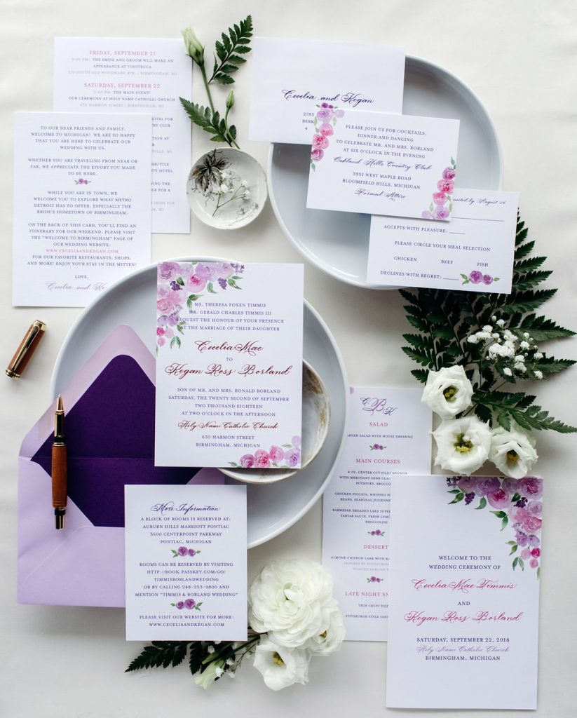 Purple and pink floral wedding invitation with rose gold foil stamping - Leah E. Moss Designs