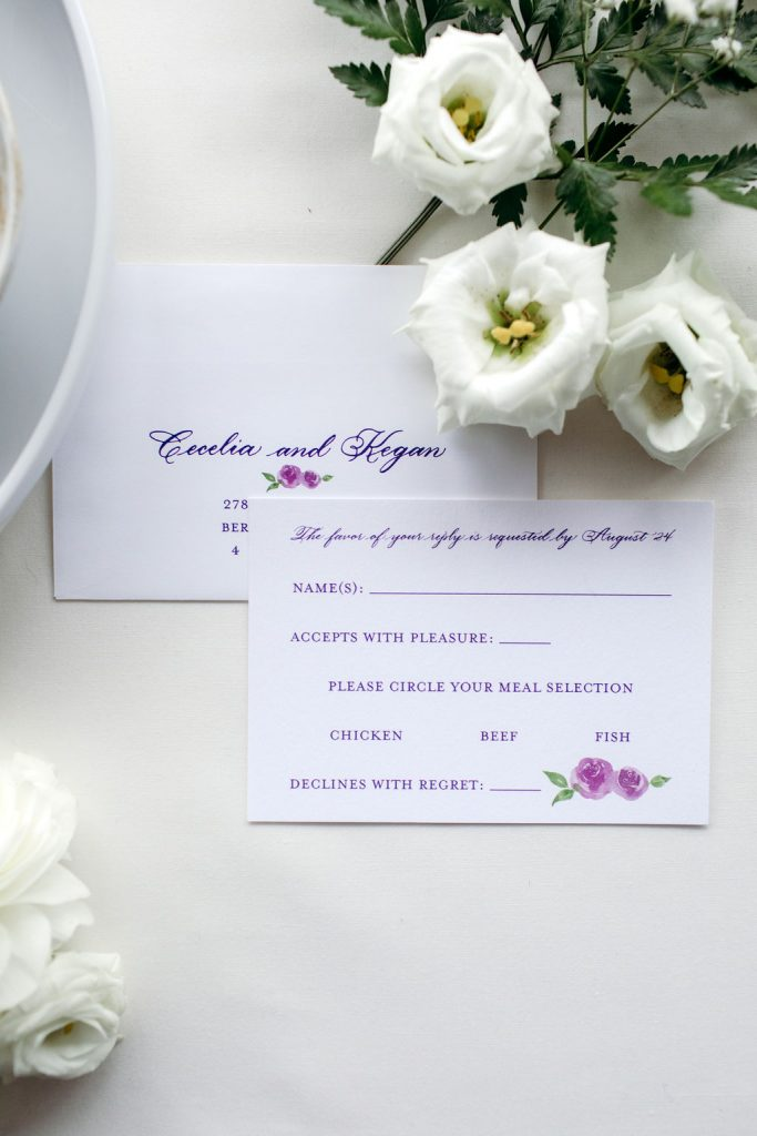 Purple and pink floral wedding RSVP card with rose gold foil stamping - Leah E. Moss Designs