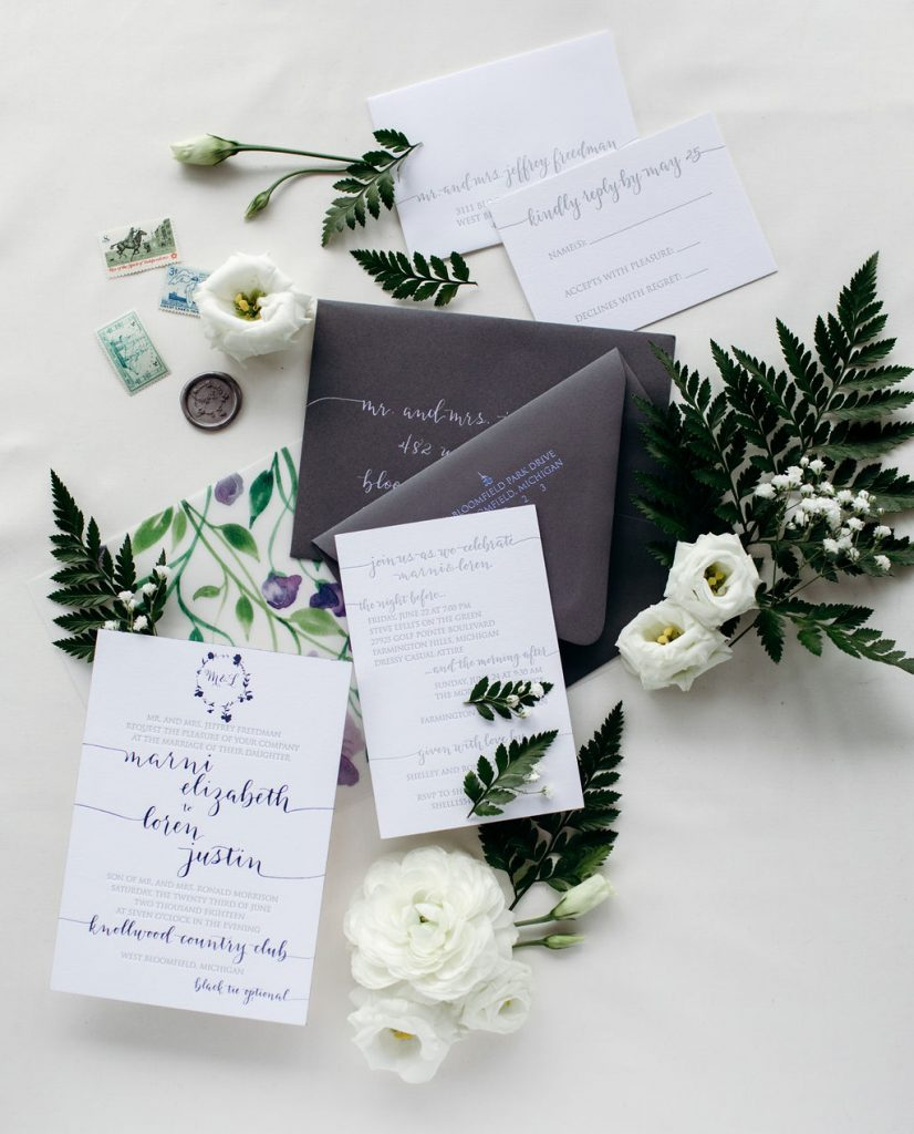 Lilac foil stamped and grey letterpress wedding invitation with sweet pea watercolor vellum and gunmetal wax seal - Leah E. Moss Designs