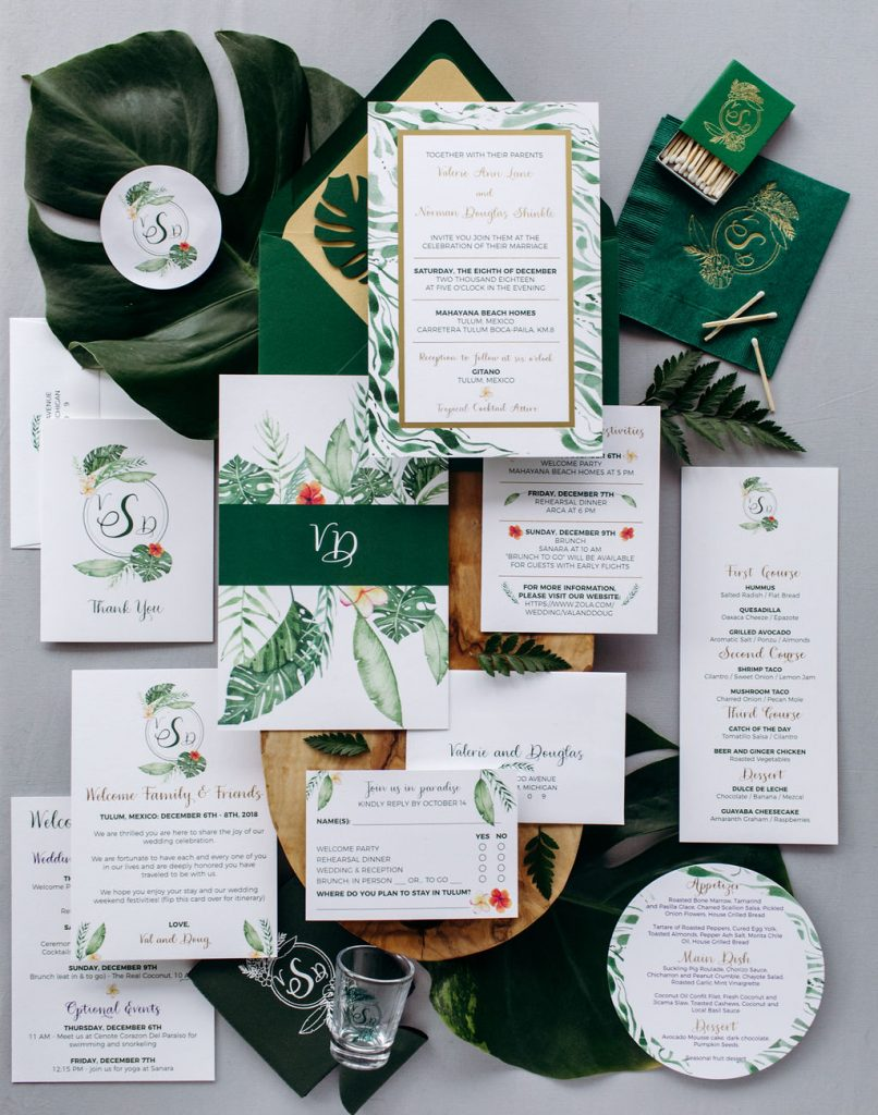 Green tropical wedding invitation with gold and watercolor leaf accents - Leah E. Moss Designs, Michigan wedding invitations