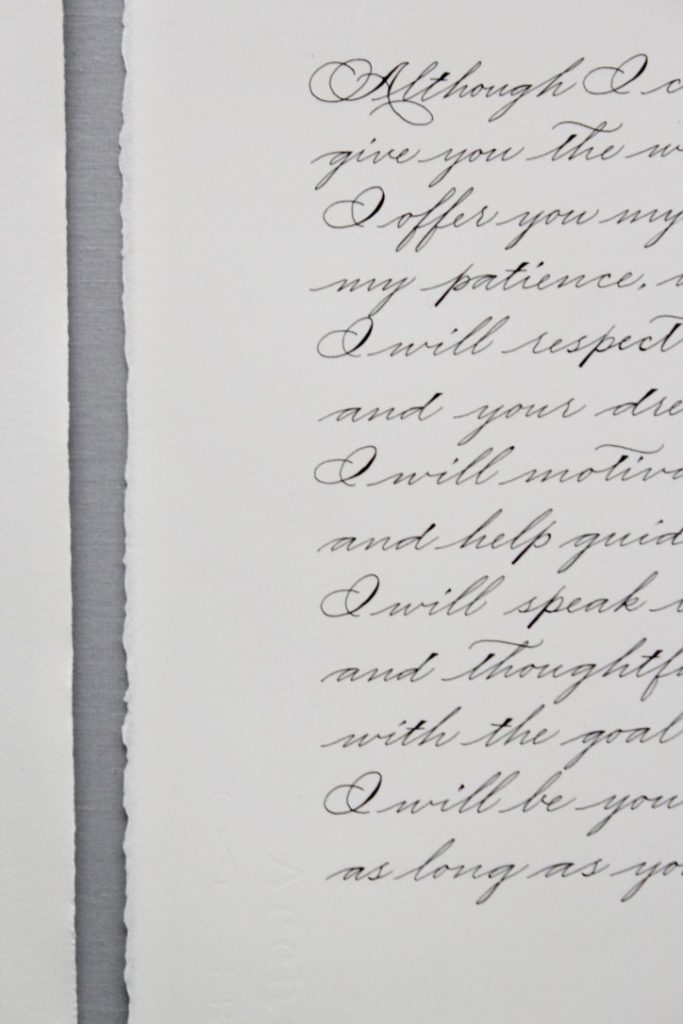 Spencerian calligraphy wedding vows for first anniversary gift - Leah E. Moss Designs