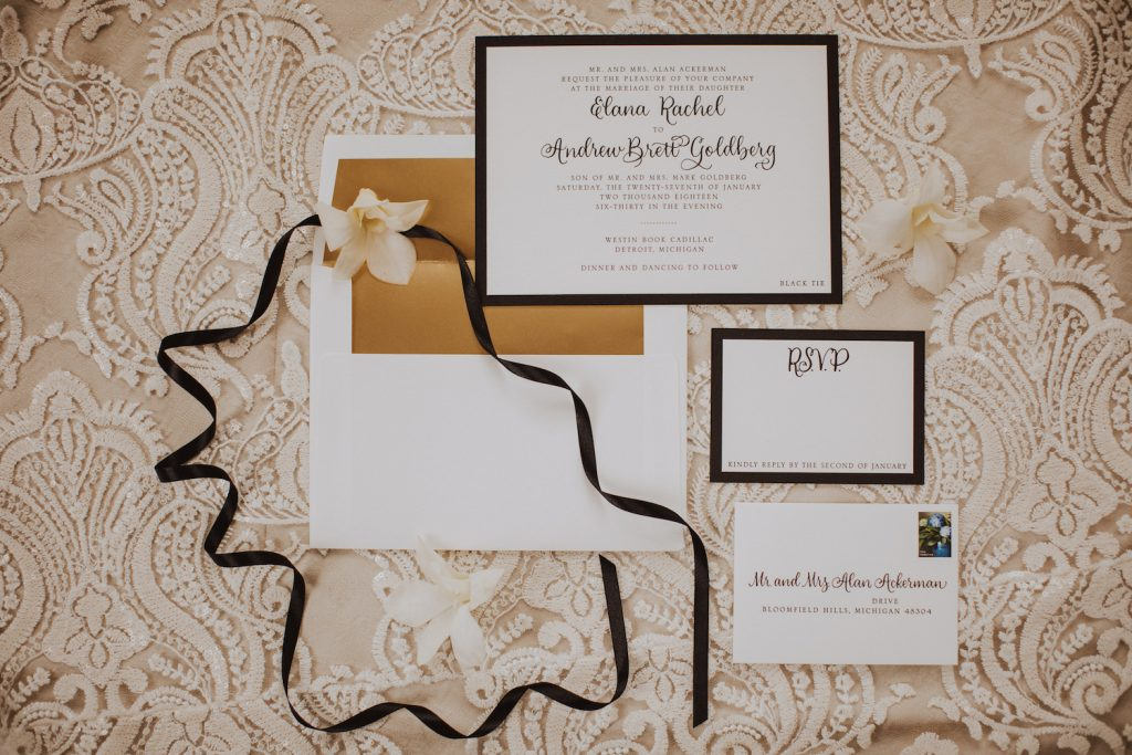Black letterpress invitation suite - An Elegant Book Cadillac Wedding in black, gold, pink, and white - Leah E. Moss Designs