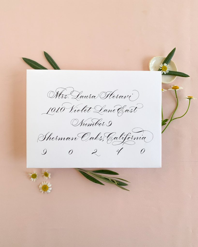 Elegant cursive - Calligraphy styles I offer - Leah E. Moss Designs