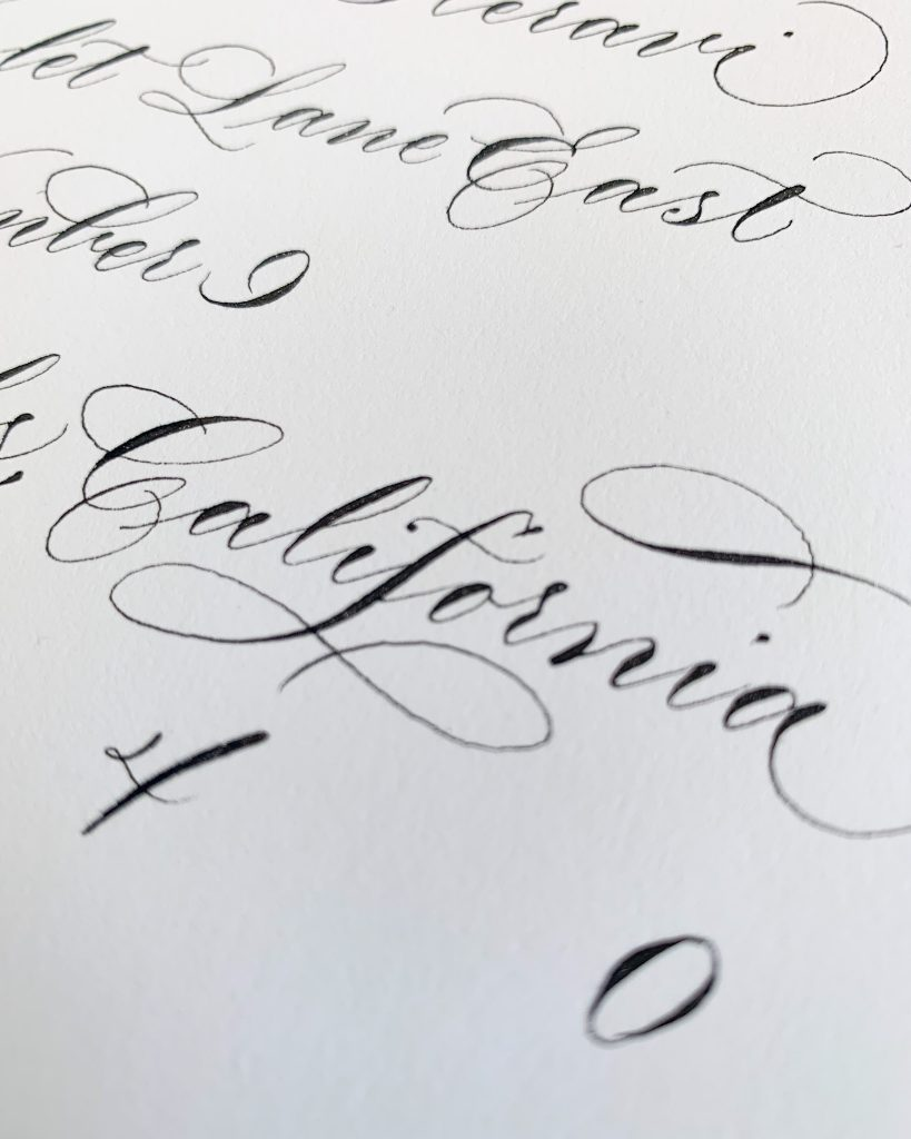 Formal calligraphy, elegant script - Calligraphy styles I offer - Leah E. Moss Designs
