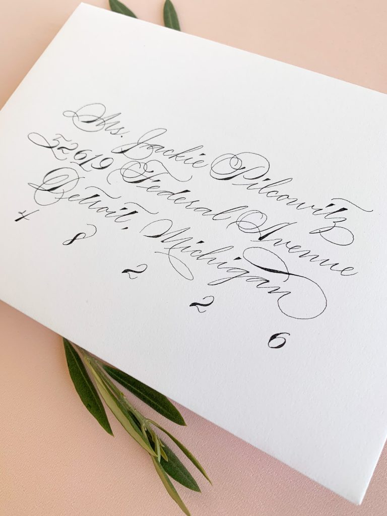 Traditional Spencerian with flourishing - Calligraphy styles I offer - Leah E. Moss Designs