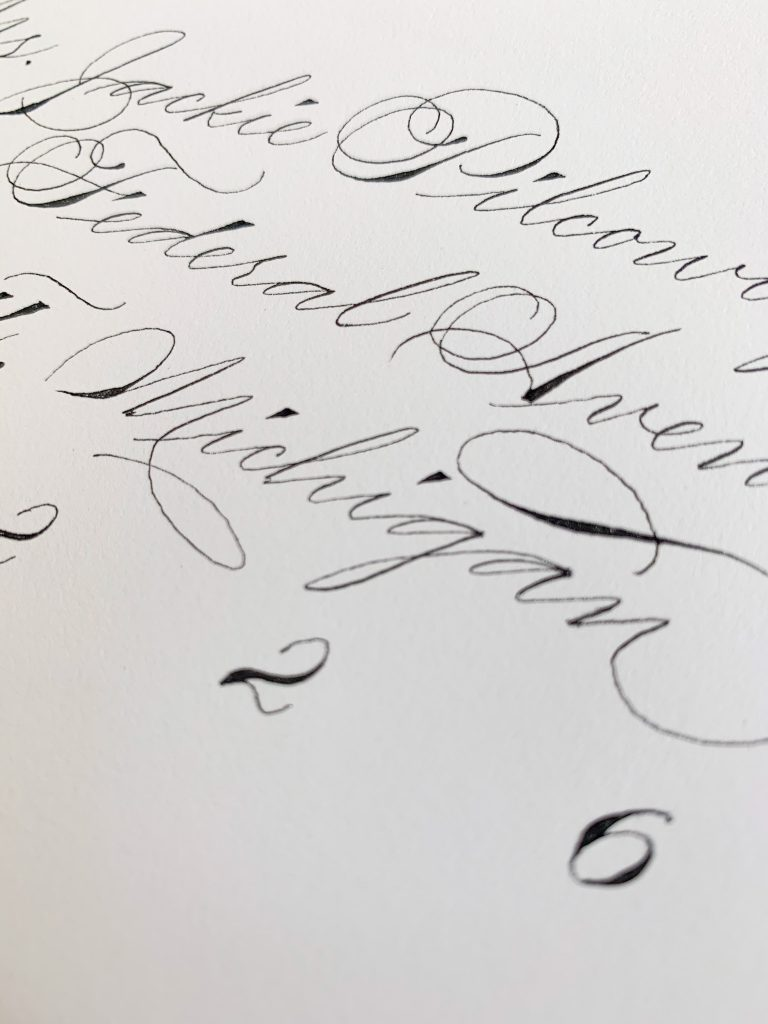 Traditional Spencerian flourishing elements - Calligraphy styles I offer - Leah E. Moss Designs