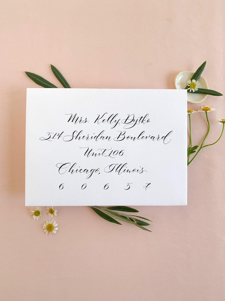 Modern script for envelope addressing - Calligraphy styles I offer - Leah E. Moss Designs