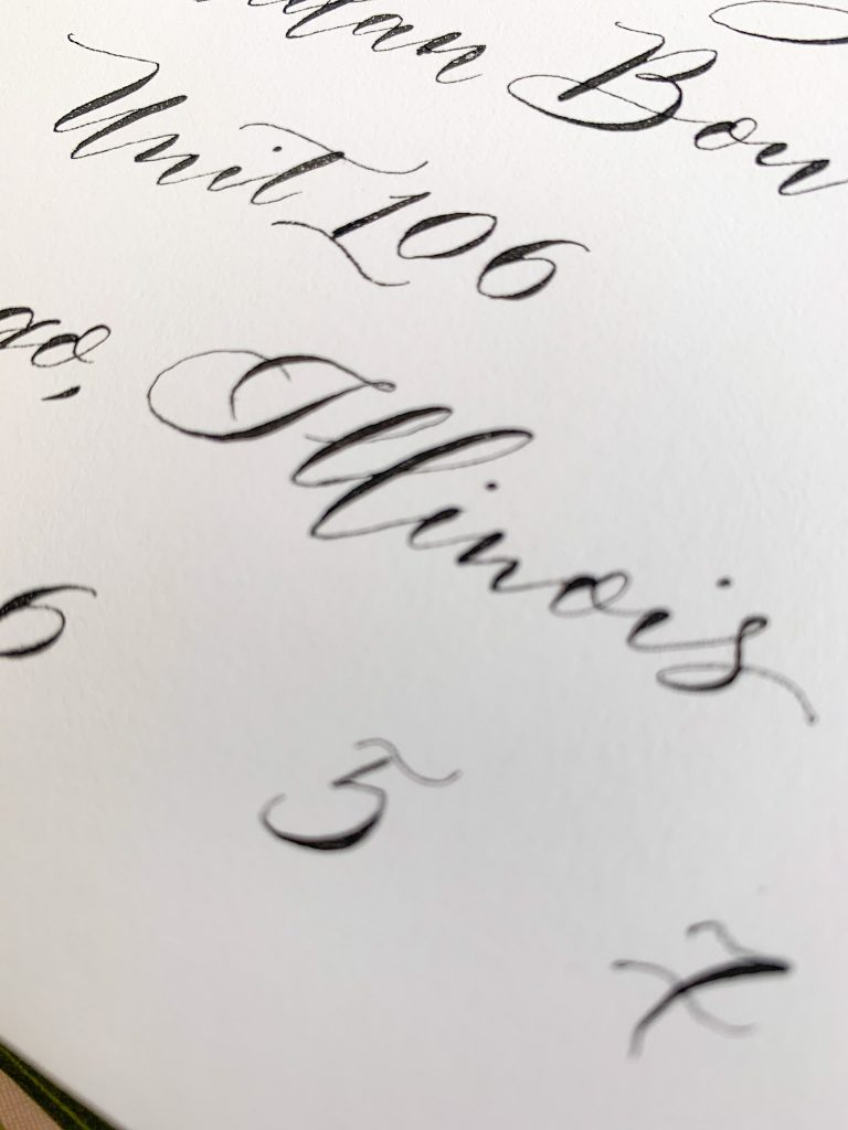 Modern calligraphy style with bouncing detail - Calligraphy styles I offer - Leah E. Moss Designs