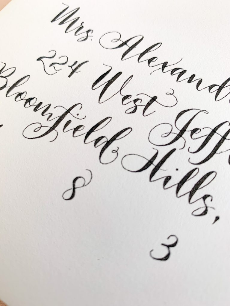 Calligraphy with curly cues - Calligraphy styles I offer - Leah E. Moss Designs