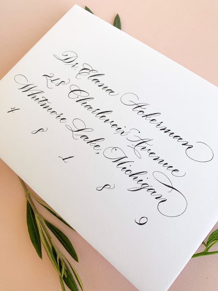 Traditional calligraphy, simple calligraphy - Calligraphy styles I offer - Leah E. Moss Designs