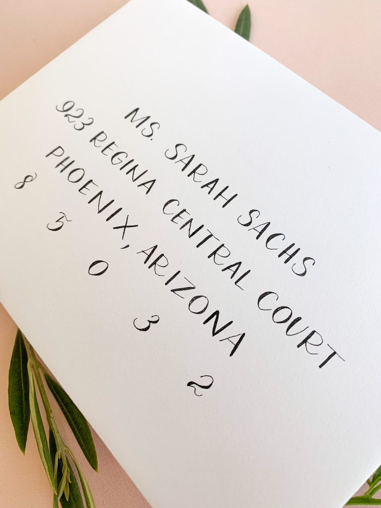 Block printing - Calligraphy styles I offer - Leah E. Moss Designs