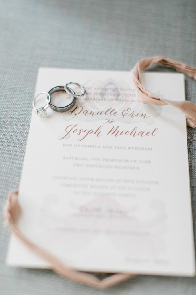How a Romantic Lace Wedding Dress Inspired the Invitation for a northern Michigan Castle Farms wedding - Leah E. Moss Designs #michiganwedding #custominvitations #laceweddingdress