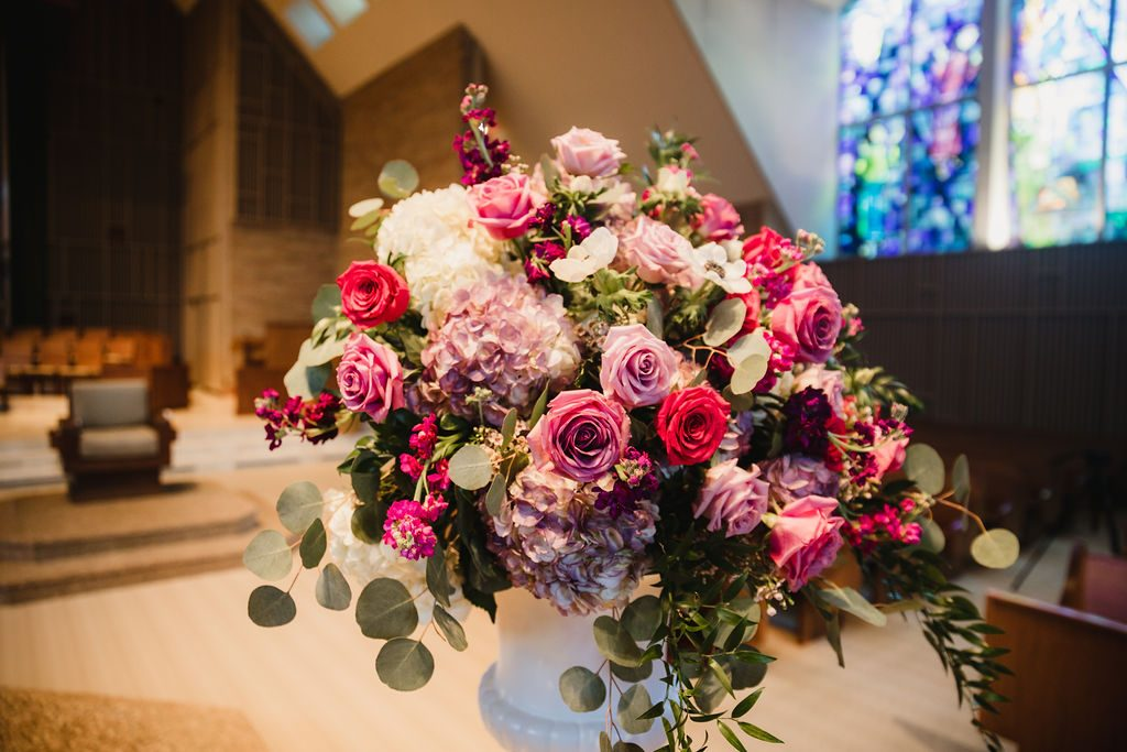 Ceremony floral arrangement - Purple and pink florals for wedding at Oakland Hills Country Club in Bloomfield Hills, Michigan - Leah E. Moss Designs