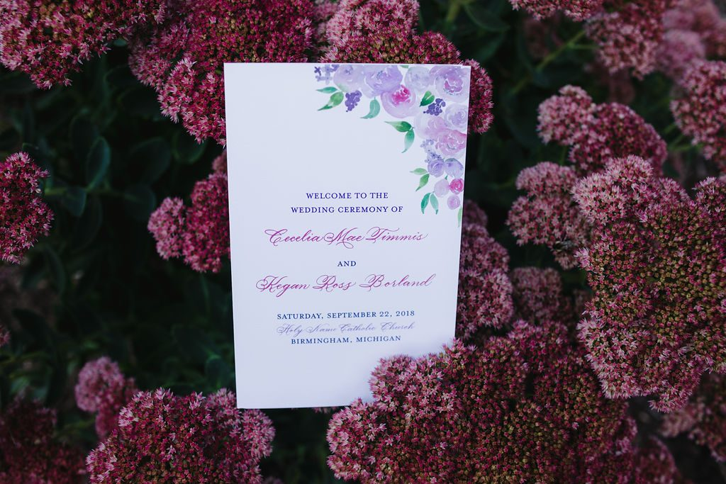 Ceremony program - Purple and pink florals for wedding at Oakland Hills Country Club in Bloomfield Hills, Michigan - Leah E. Moss Designs