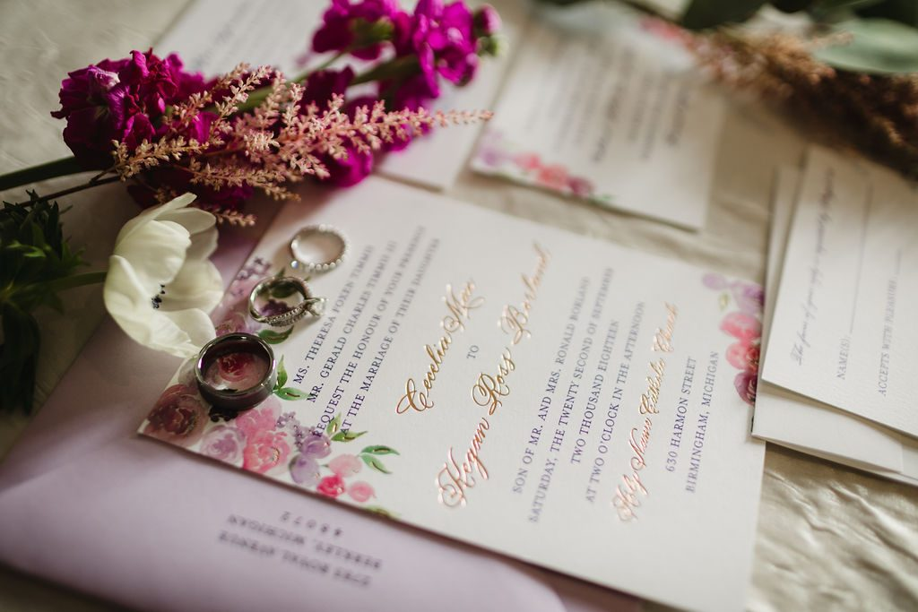 Invitation with rose gold calligraphy - Purple and pink florals for wedding at Oakland Hills Country Club in Bloomfield Hills, Michigan - Leah E. Moss Designs