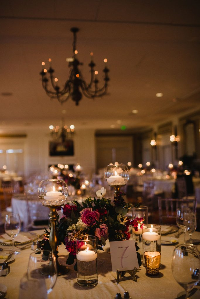 Room - Purple and pink florals for wedding at Oakland Hills Country Club in Bloomfield Hills, Michigan - Leah E. Moss Designs