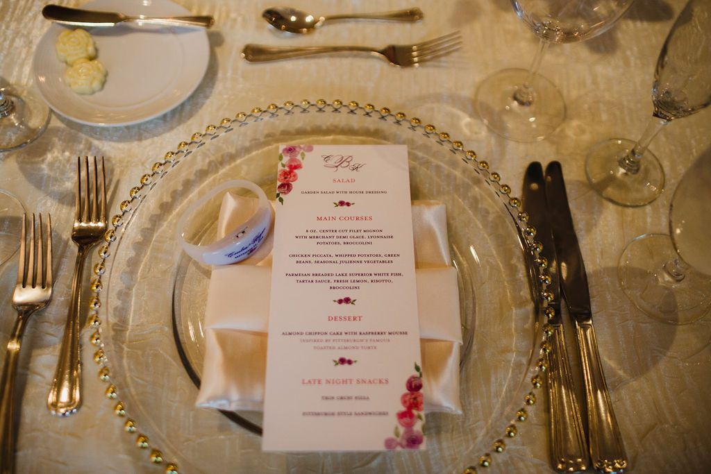 Menu and place setting - Purple and pink florals for wedding at Oakland Hills Country Club in Bloomfield Hills, Michigan - Leah E. Moss Designs