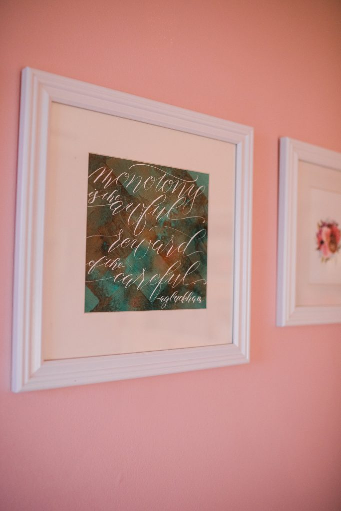 Leah E Moss Designs - the core values of my business - calligraphy quote in studio