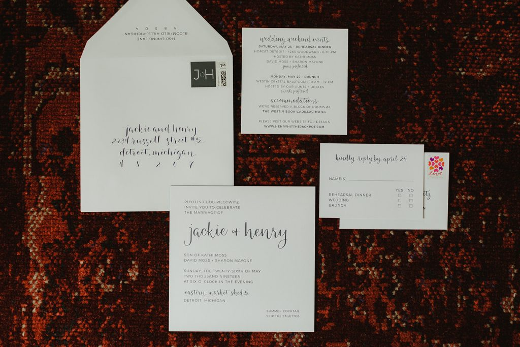 Blue grey letterpress invitation suite - Eastern Market wedding recap from Detroit calligrapher Leah E. Moss Designs with photos by Jill DeVries Photography