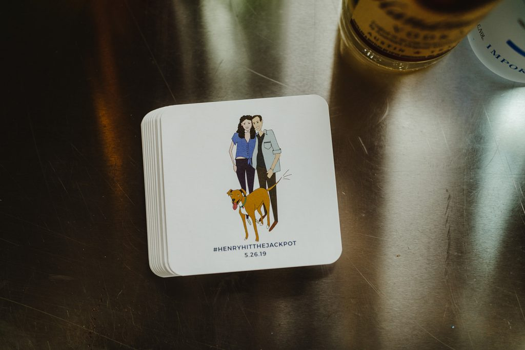 Coasters with custom cartoon of bride, groom, and dog - Eastern Market wedding recap from Detroit calligrapher Leah E. Moss Designs with photos by Jill DeVries Photography #detroitwedding #moderncalligraphy #custominvitation