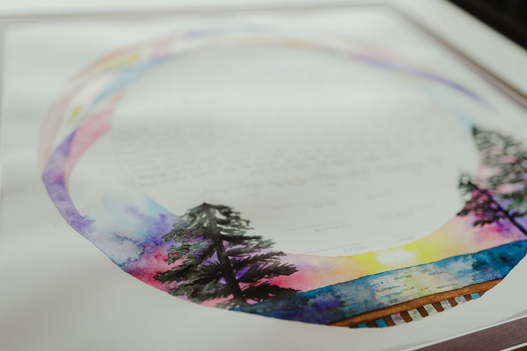 Custom Ketubah with watercolor landscape - Eastern Market wedding recap from Detroit calligrapher Leah E. Moss Designs with photos by Jill DeVries Photography #detroitwedding #moderncalligraphy #custominvitation