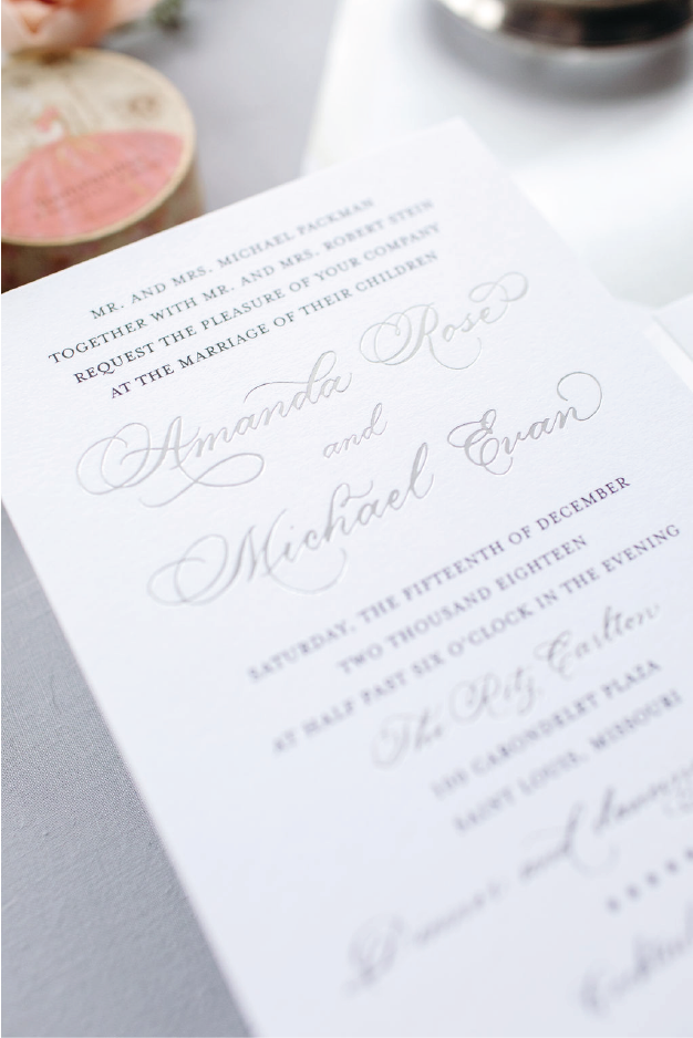 Silver foil stamping elegant calligraphy custom wedding invitations for St. Louis, Missouri wedding - Leah E. Moss Designs