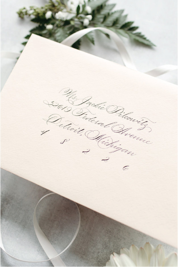 Traditional Spencerian envelope calligraphy from Michigan calligrapher Leah E. Moss Designs