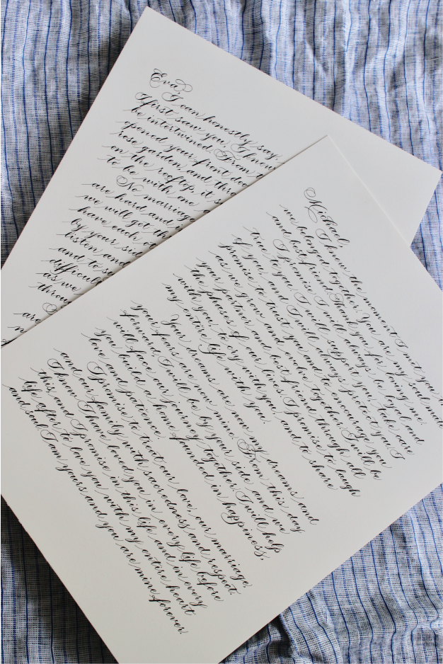 Custom vows transcription by Michigan calligrapher Leah E. Moss Designs