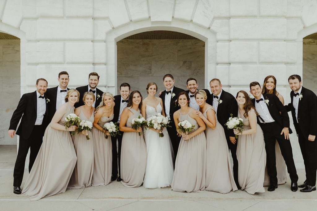 wedding party portrait - Elegant Planterra Conservatory wedding. Highlights from Leah E. Moss Designs. Photos by Jill DeVries Photography. #michiganwedding #greenhousewedding #elegantwedding