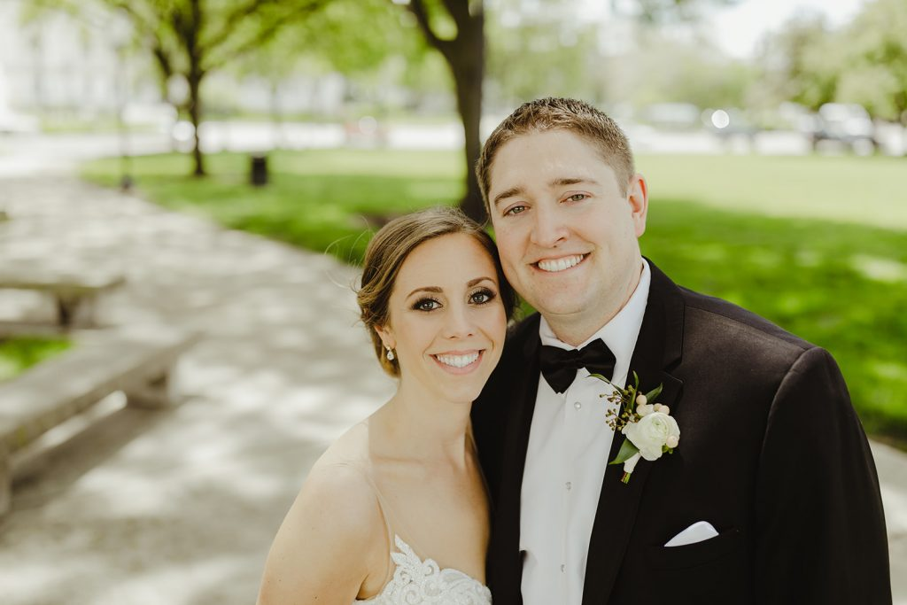 Bride and groom portrait - Elegant Planterra Conservatory wedding. Highlights from Leah E. Moss Designs. Photos by Jill DeVries Photography. #michiganwedding #greenhousewedding #elegantwedding