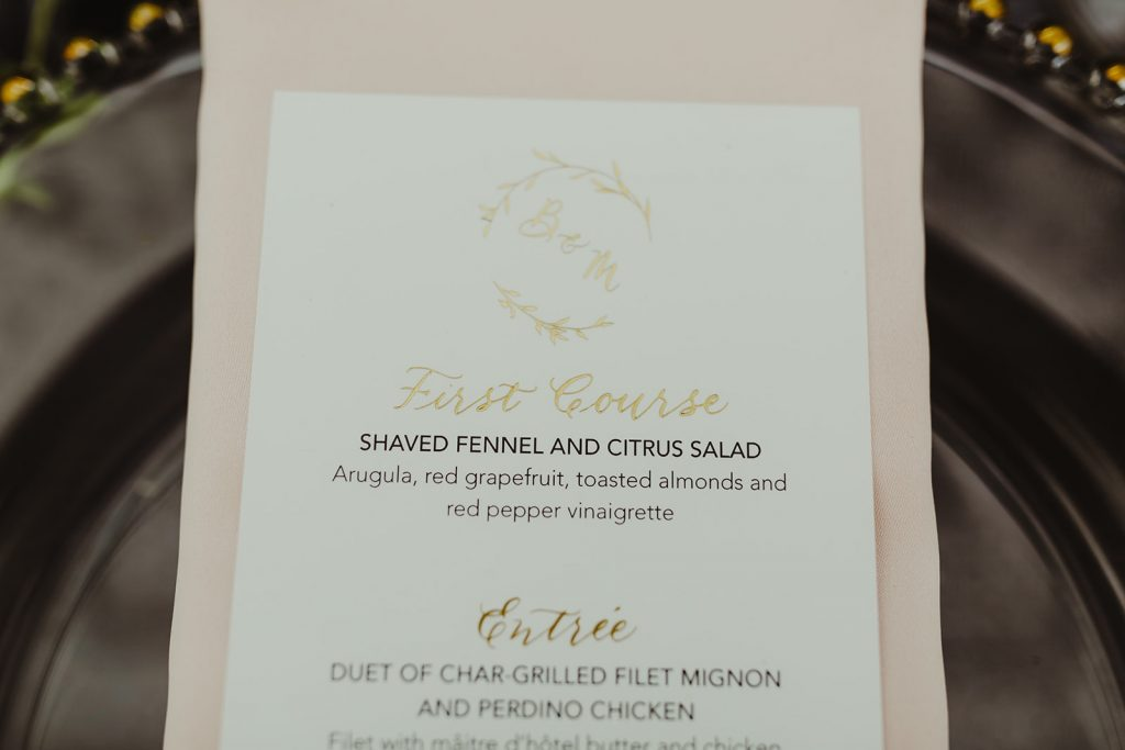 Gold foil stamped menu - Elegant Planterra Conservatory wedding. Highlights from Leah E. Moss Designs. Photos by Jill DeVries Photography. #michiganwedding #greenhousewedding #elegantwedding