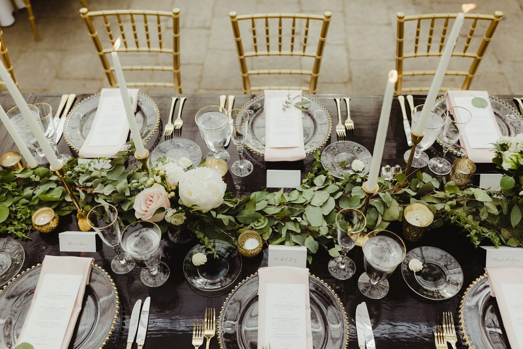 Tabletop design - Elegant Planterra Conservatory wedding. Highlights from Leah E. Moss Designs. Photos by Jill DeVries Photography. #michiganwedding #greenhousewedding #elegantwedding