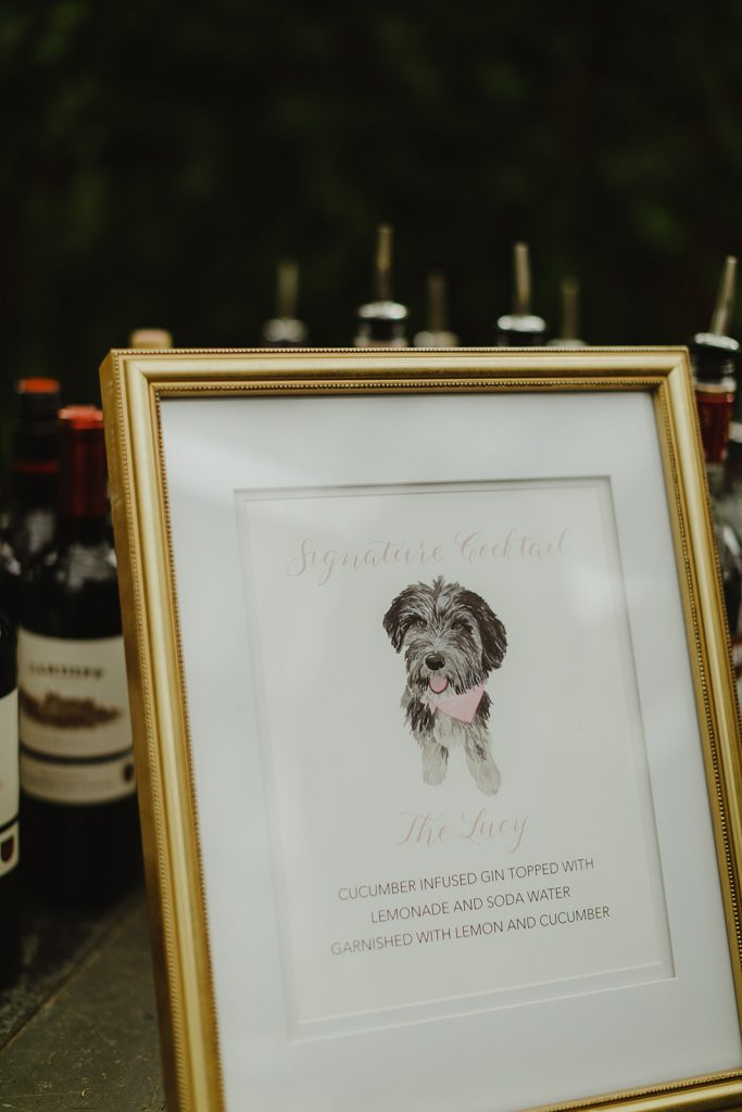 Signature drink sign with watercolor pet portrait of dog - Elegant Planterra Conservatory wedding. Highlights from Leah E. Moss Designs. Photos by Jill DeVries Photography. #michiganwedding #greenhousewedding #elegantwedding