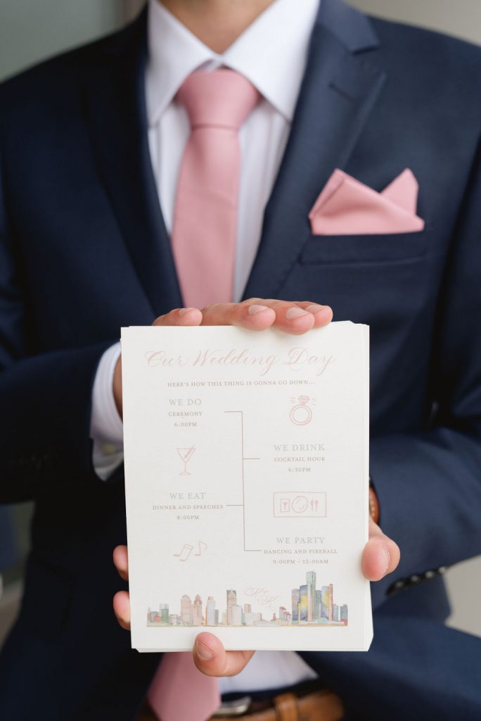 Wedding ceremony program - Classic and Neutral Wedding at the Garden Theater in Detroit, Michigan - Recap by wedding invitations designer Leah E. Moss Designs with photos by Niki Marie Photography