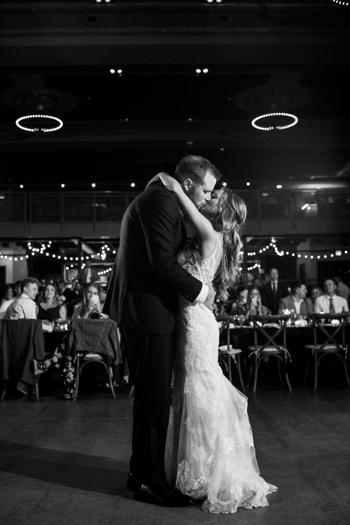 Couple's first dance in black and white photo - Classic and Neutral Wedding at the Garden Theater in Detroit, Michigan - Recap by wedding invitations designer Leah E. Moss Designs with photos by Niki Marie Photography