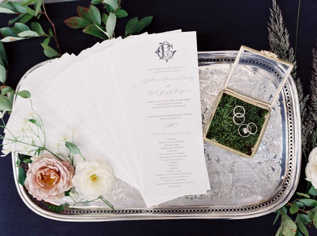 Ceremony program for wedding with monogram - Traditional Detroit Athletic Club wedding - blog by Leah E. Moss Designs - photography by Blaine Siesser