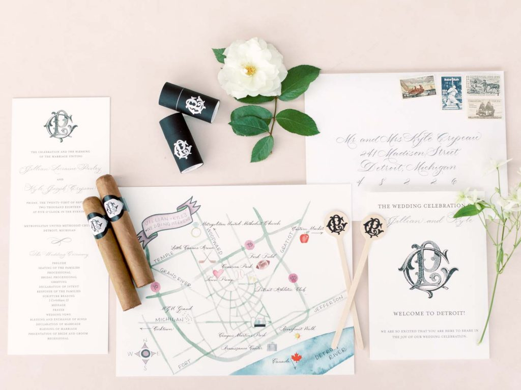 Wedding map and calligraphy - Traditional Detroit Athletic Club wedding - blog by Leah E. Moss Designs - photography by Blaine Siesser