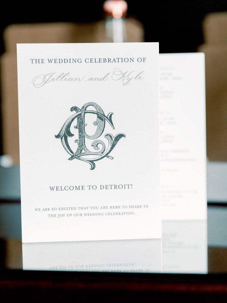 Hotel welcome note - Traditional Detroit Athletic Club wedding - blog by Leah E. Moss Designs - photography by Blaine Siesser