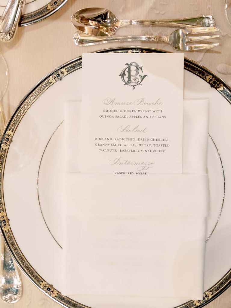 Menu with charger plate - Traditional Detroit Athletic Club wedding - blog by Leah E. Moss Designs - photography by Blaine Siesser