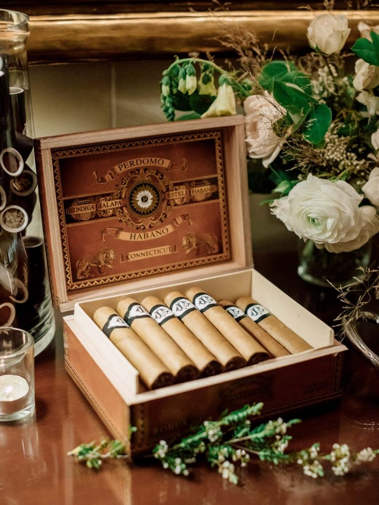Custom cigar wrappers with cigar box - Traditional Detroit Athletic Club wedding - blog by Leah E. Moss Designs - photography by Blaine Siesser