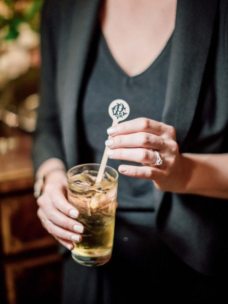 Custom drink stirrer with monogram - Traditional Detroit Athletic Club wedding - blog by Leah E. Moss Designs - photography by Blaine Siesser