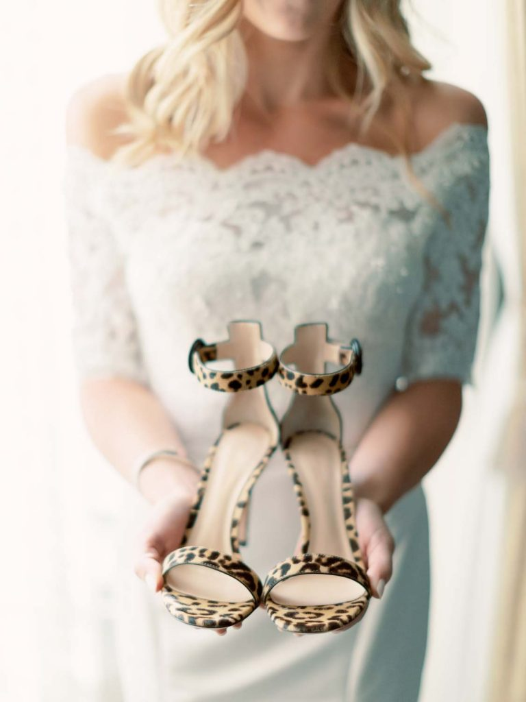 Bride's leopard shoes - Traditional Detroit Athletic Club wedding - blog by Leah E. Moss Designs - photography by Blaine Siesser
