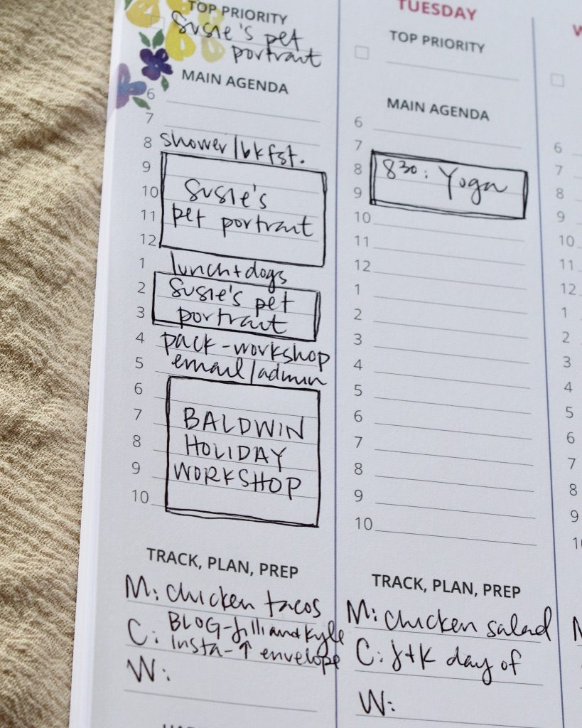 Weekly planner tear-off notepad with watercolor flowers, habit tracking, daily agenda, goal setting - Leah E. Moss Designs